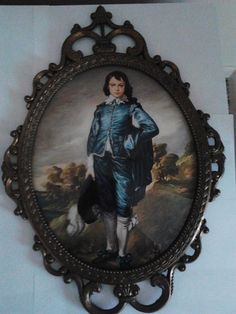Victorian Cottage Chic Blue Boy And Pinkie Convex Bubble Glass In Metal Frames Made Italy