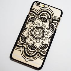 Black Henna Flower iPhone 6 Plus / 6S Plus Hard Case - Boho Chic Mandala Flower iPhone Cover