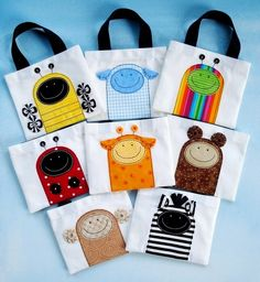 Sewing Pattern - Mini Tote Bags with Critter Appliques - Ladybug* Beetle* Bumble Bee* Monkey* Sheep* Bear* Giraffe and Zebra - PDF ePattern* via Etsy. Fabric Crafts, Sewing Crafts, Sewing Projects, Sewing Tips, Diy Projects, Couture Cuir, Applique Designs, Applique Patterns, Sewing For Kids