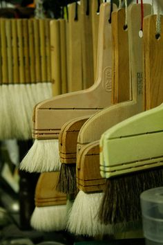 Japanese wide brushes for applying paste onto washi paper for crafts and sumie brushes.