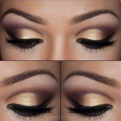 Golden smokey eye make up Gold Eye Makeup, Prom Makeup, Love Makeup, Skin Makeup, Makeup Tips, Makeup Looks, Makeup Contouring, Makeup Ideas, Bridesmaid Makeup