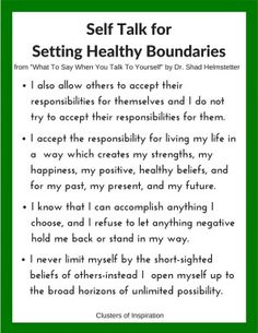 Self Talk: what to say to yourself to change your mindset and let go of guilt The Guide to Setting Healthy Boundaries | Clusters of Inspiration