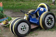 Brinquedos de Pneus para Jardim Feitos de Pneus Velhos Usados Reciclados 2017 - Luxo do Lixo Artesanatos Móveis - Pneus Paletes Garrafas Troncos de Arvores