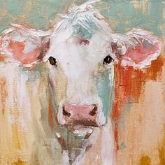 "Daily Paintworks - ""jane"" - Original Fine Art for Sale - © Carol Carmichael Farm Paintings, Animal Paintings, Animal Drawings, Cow Painting, Painting & Drawing, Acrylic Painting Animals, Cow Pictures, Farm Art, Abstract Animals"
