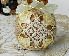 Burlap quilted ornament rustic bauble burlap quilted ornaments