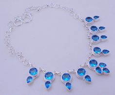 free shipping f-310 Stunning Blue Topaz .925 Silver Handmade Jewelry Necklace 51 Gr. by SILVERHUT on Etsy