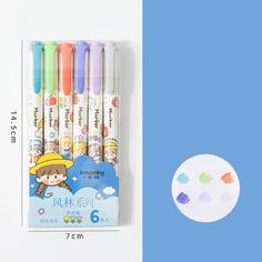 6PC Kawaii Girls Highlighter Pen Set - Blue set