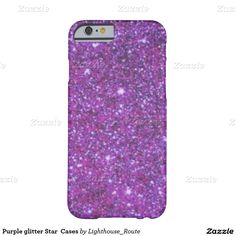 Purple glitter Star  Cases Barely There iPhone 6 Case