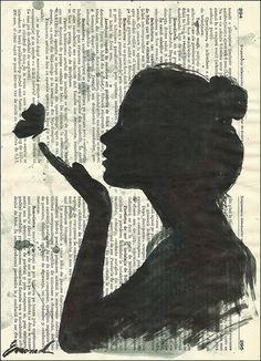 Original Black Ink Drawing Girl Vintage Paper Art Painting Signed M. Ologeanu