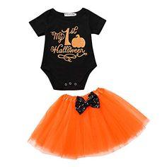 Halloween Pumpkin Costume Jumpsuit Toddler Romper Baby Girls Short Sleeve Skirt Tag someone who should wear this! Halloween Fashion, Halloween Costumes For Girls, Girl Costumes, Funny Costumes, Funny Halloween, Baby Girl Romper, Baby Girls, Girls Mermaid Costume, Baby Girl Letters
