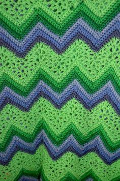Vintage Handmade Afghan Crochet Chevron Ripple Green and Purple Throw Blanket