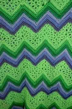 Vintage Handmade Afghan Crochet Chevron Ripple Green and Purple Throw Blanket
