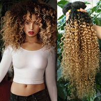 4 Bundles Mongolian Curly Weave Hair afro kinky curly hair two tone 1b#27 or 30…
