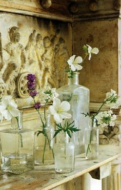 flowers and antique glass