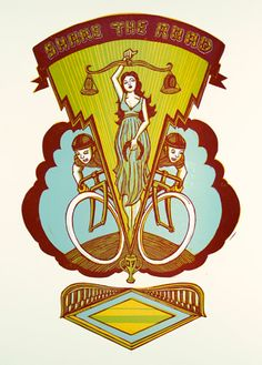 """Share the Road / linocut print /  19"""" x 26"""" /  3 color run /  Heavy posterstock /  Edition: unnumbered"""