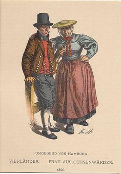 Buch: HAMBURG: Trachten, Vierländer und Frau aus Ochsenwärder, um 1900, Farblithographie, 16x11 cm #Vierlande #Hamburg #Ochsenwerder #Holstein