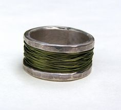 Recycled silver sterling with Green wire metal Silver by OritNaar, $95.00