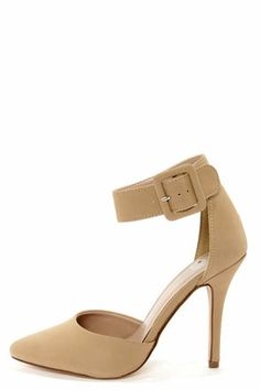 My Delicious Aveta Oat Beige Nubuck Ankle Strap Heels at Lulus.com!