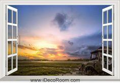 3D Sunset Countryside window wall sticker art decal IDCCH-LS-001340