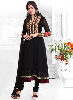 Cbazaar Elite Embroidered Georgette Churidar Suit