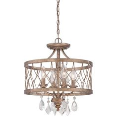 West Liberty Olympus Gold 16-Inch Four-Light Convertible Drum Pendant