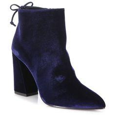 Stuart Weitzman Grandiose Back-Tie Velvet Block-Heel Booties ($525) ❤ liked on Polyvore featuring shoes, boots, ankle booties, apparel & accessories, navy, pointed toe ankle boots, navy blue boots, pointy toe ankle boots, short boots and navy blue ankle boots