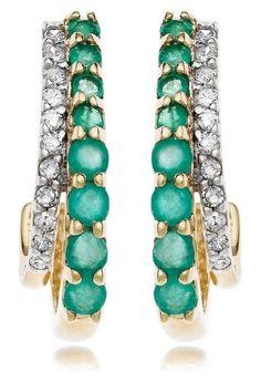 14k Gold Precious and Diamond J Hoop Earrings