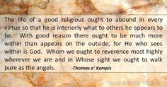 Daily Virtue Quote – Thomas a' Kempis Virtue Quotes, Life