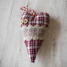 Red and Cream Fabric Heart Decoration 13cm: Amazon.co.uk: Kitchen & Home