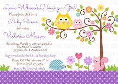 happi tree owl baby shower invitation digital by 999