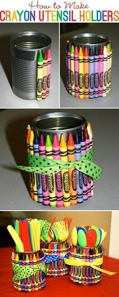 Crayon wrapped around a soup can cute idea