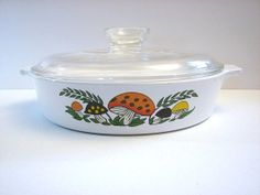 Corning Ware Merry Mushroom 8 1/2 Inch Round Lidded Casserole (B-8 1/2-B) ... Made for Sears, Roebuck & Co. on Etsy, $29.95