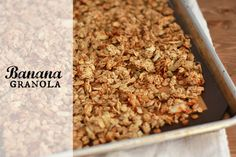 Banana Granola (gluten free, vegan)// One Lovely Life 2 ripe bananas, mashed or pureed (puree for a smoother texture) 3c old-fashioned rolled oats, *gluten free, if desired (don't use quick-cooking) ½c sliced almonds ½c pumpkin seeds 3 Tbsp pure maple syrup 3 Tbsp coconut oil 1 tsp vanilla extract ½ tsp almond extract (optional) pinch salt
