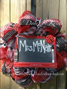 LadyBug Teacher Wreath