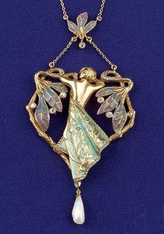 Art Nouveau 18kt Gold, Plique-a-jour Enamel and diamond pendant