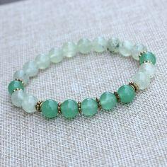 Nature Bracelet Green Jade Mala Prayer Beads by DazzleDream