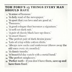 The important things by Tom Ford