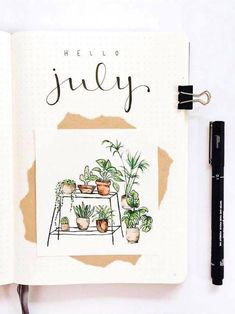 Monthly bujo cover by Hello July! Monthly bujo cover by Bullet Journal Inspo, Bullet Journal Cover Page, Bullet Journal Ideas Pages, Bullet Journal Spread, Bullet Journal Layout, Journal Covers, Journal Pages, Bullet Journals, Bullet Journal Water Tracker
