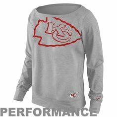 Nike Kansas City Chiefs Ladies Wildcard Epic Crew Performance Sweatshirt - Ash