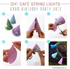 Make string lights out of party hats!