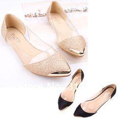 56abf3b3c Drop Shipping Womens Glitter faísca Loafers Metal bico fino transparentes  salto baixo sapatos baixos Sapatos Chiques