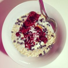 Brekky noms; oats, berries, oat milk, yoghurt, coconut #yum