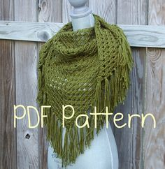 Shawl Crochet PATTERN PDF Triangle Scarf by CandacesCloset on Etsy, $5.00