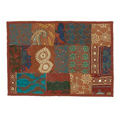 Timbuktu Hand Crafted Maroon Cotton and Poly Recyled Sari Placemats