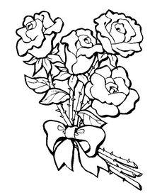 Imagens de flores para colorir e fotos de flores para colorir rosa com laço