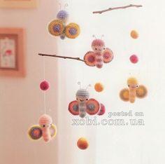 crochet mobile butterflies