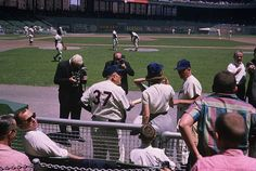 Casey with Rhinegold girl, coach Ernie White. Sportswriter Tom Meany is seated with sunglasses. Baseball Park, Giants Baseball, Baseball Photos, Baseball Field, Football, New York Stadium, Stadium Tour, Yankee Stadium, Casey At The Bat