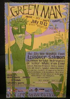 Green Man 2003 Festival poster Big Wu Wookie Foot Leftover Salmon 420 All Stars