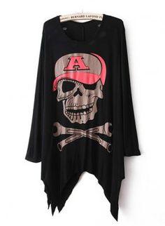Black Cool Skull Print Back Cut Out T-shirt [Back Cut Out T-shirt] - $25.00 : EverMissFashion.com