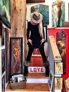 Karen's In Love Was On Sale One Time - Karen Petty .an artist in Laguna Sawdust Art Festival, Art Girl, Panama Hat, Cowboy Hats, Fantasy, Winter, Artist, Magic, Fashion